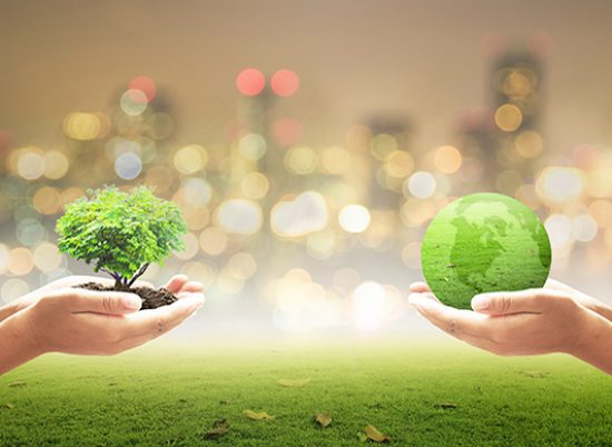 Two children hands holding earth globe and heart shape of tree over blurred city background